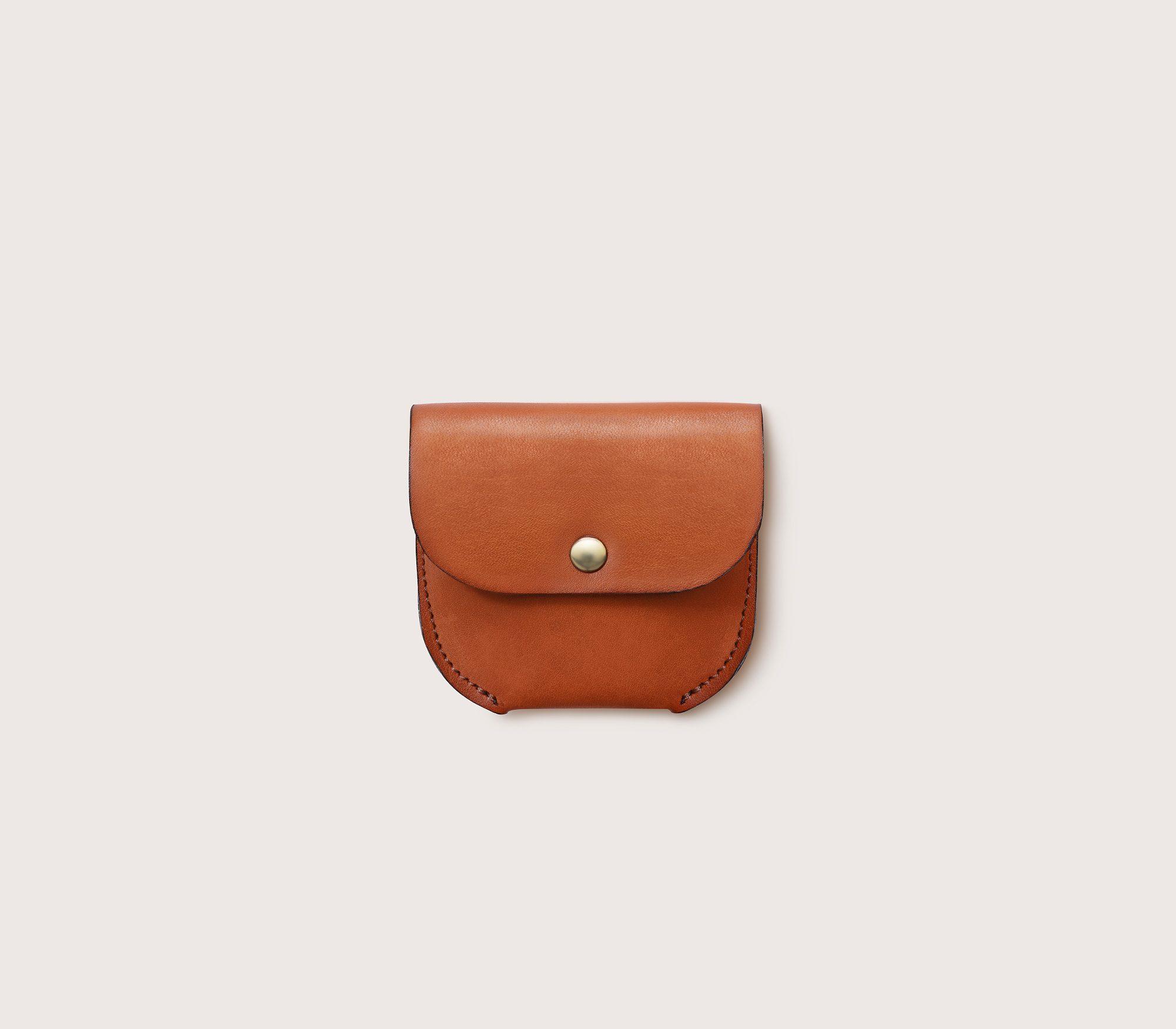 Кожаная монетница CASANIE, цвет коньяк