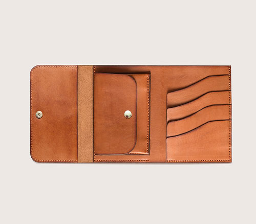 Кожаный большой кошелек CASANIE, цвет коньяк, сверху в раскрытом виде