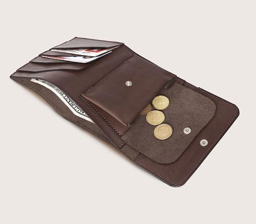 Большой кожаный кошелек CASANIE, цвет коричневый, раскрытый