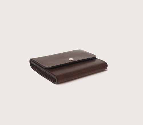 Большой кожаный коричневый кошелек CASANIE, вид сбоку