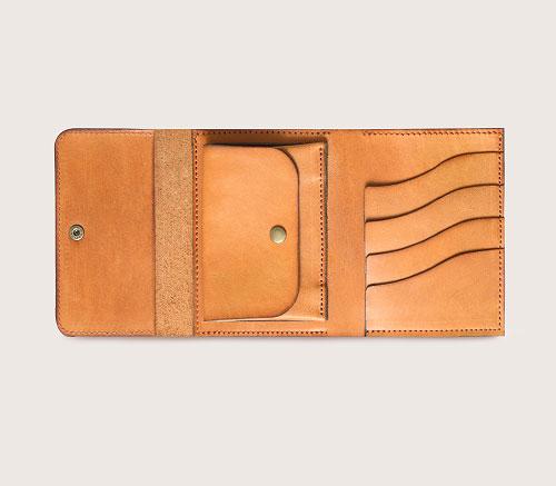 Большой кожаный кошелек CASANIE, цвет рыжий, вид сверху