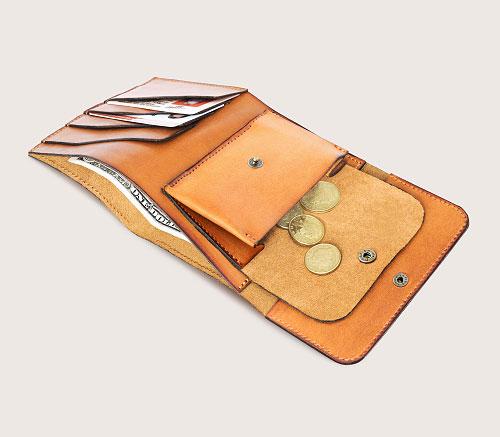 Большой рыжий кожаный кошелек CASANIE, раскрытый