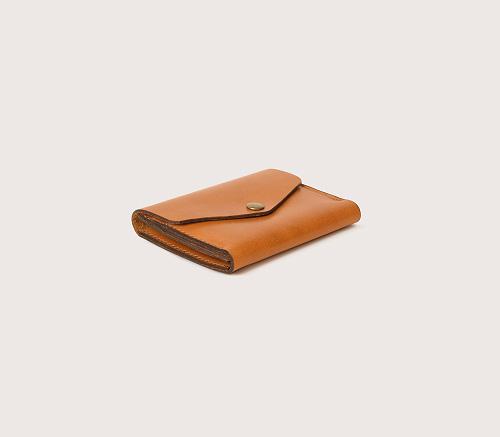 Кожаный рыжий мини-кошелек CASANIE, вид сбоку