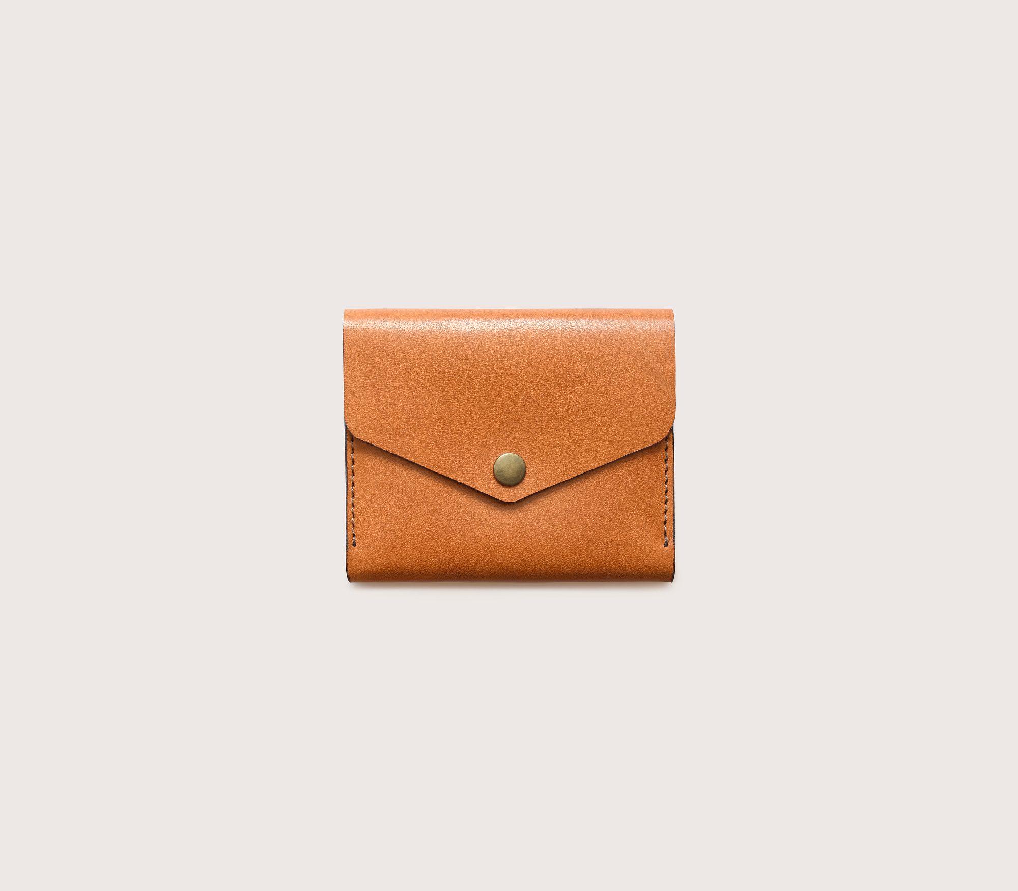 Кожаный мини-кошелек CASANIE рыжего цвета