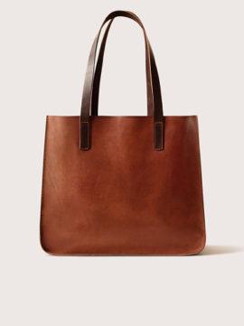 Женская кожаная сумка-тоут, цвет коньяк