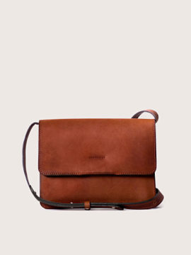 Женская сумка кросс-боди кожаная коньячного цвета, арт.BG02-CGN