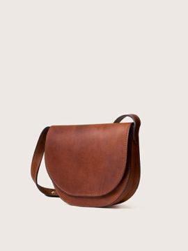Женская кожаная сумка через плечо коньячного цвета, арт. BG01-CGN