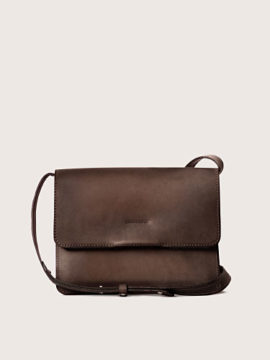 Женская сумка кросс-боди кожаная коричневая, арт. BG02-BRN